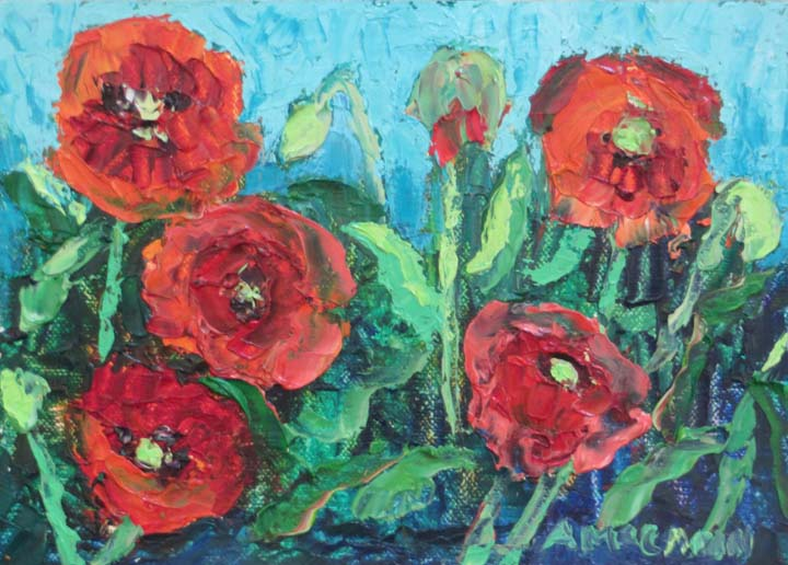 I am finally finishing the paintings I started on my wild flower tour of South Texas in April. These are poppies I painted while standing in a field of them at the Wild Seed Farm in Fredericksburg, TX. What an amazing site, a field of red poppies blowing in the wind.
