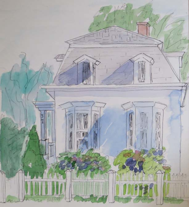 "(c)Ann McCann, ""White House,"" 8 X 11 water color on paper"