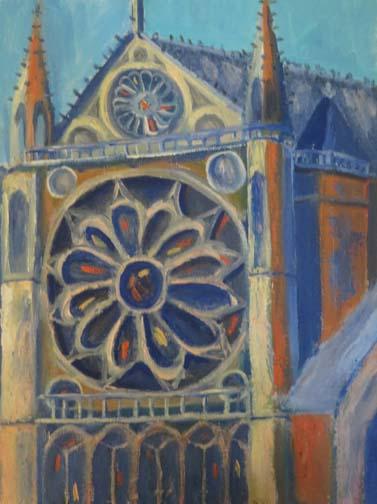 "(c)Ann McCann, ""Notre Dame in Blue and Orange,"" 9 X 12 Oil on archival linen panel"
