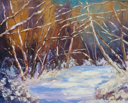 "(c)Ann McCann, ""Snowy Afternoon in the Woods,"" Oil on gallery wrap canvas, 16 X 20"""