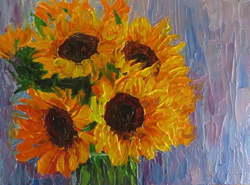 "(c)Ann McCann 2016, ""Sunshine on a Cloudy Day"" Oil on linen panel, 9 X 12"""