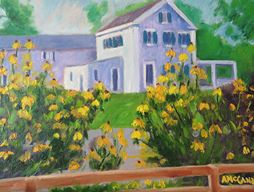 """(c) Ann McCann 2016, Colonial Sunflowers, Oil on linen board, 9 X 12"""""""