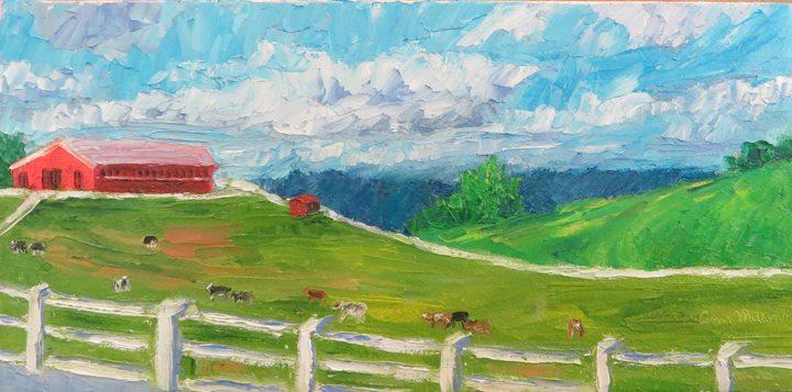 """(c)Ann McCann 2016, """"Sky at Horsebarn Hill with Cattle,"""" Oil on canvas, 6 X 12"""