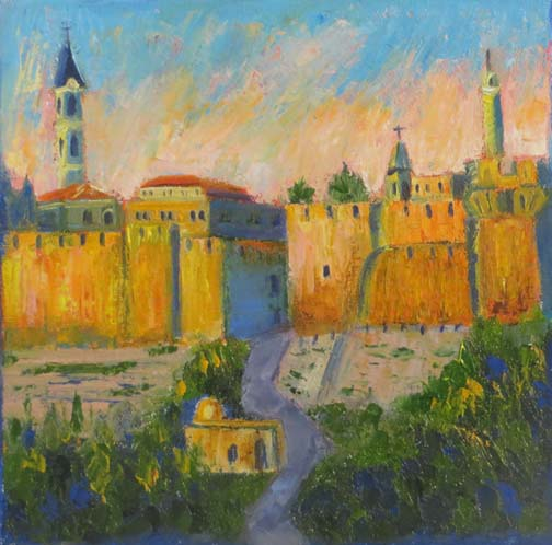 "(c)Ann McCann, ""Holy City,"" oil on canvas, 8X8"