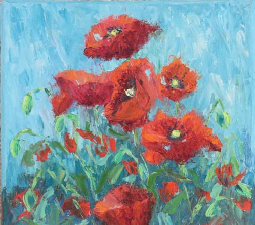 """(c) Ann McCann, """"Red Poppies on Turquoise,"""" 8 X 8 Oil, 2016"""
