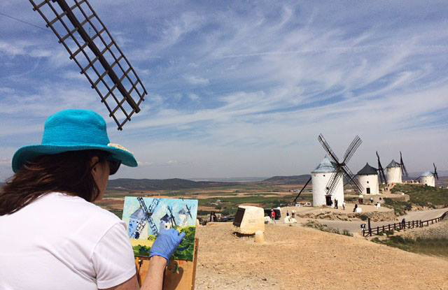 Here I am painting windmills in La Mancha, Spain 2016.