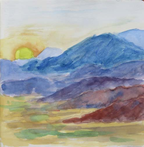 Watercolor and ink sketch of the Chiso Mountains in Terlingua, Texas