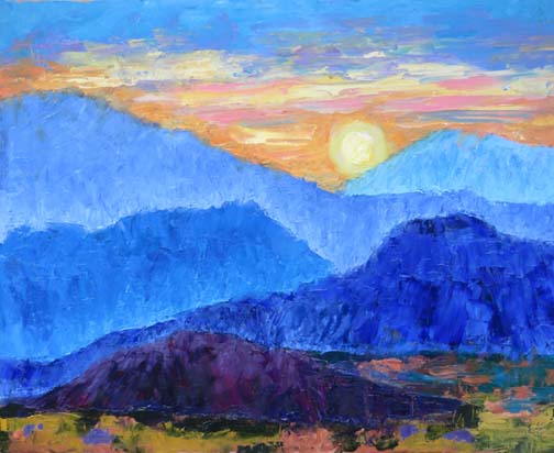 "Oil Painting of the ""Chiso Mountains"" by Ann McCann (c) 2017"