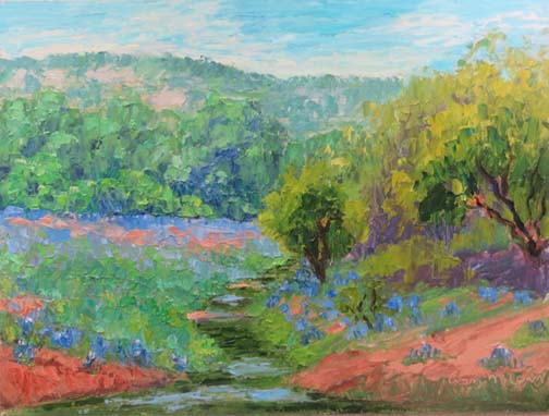 """Willow City Bluebonnets Revisited"" by Ann McCann 9 X 12 Oil (c) 2017"