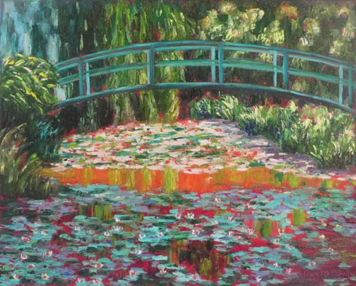 """Monet's Red Lily Pond"" by Ann McCann 16 X 20 Oil (c) 2017"