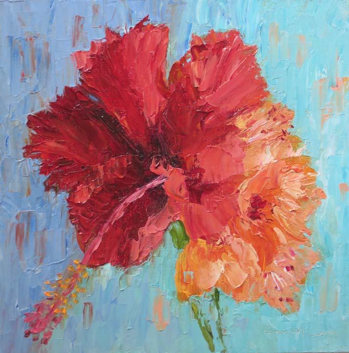 """Hibiscus Fireworks"" by Ann McCann 8 X 8 Oil on Linen Panel (c) 2017"