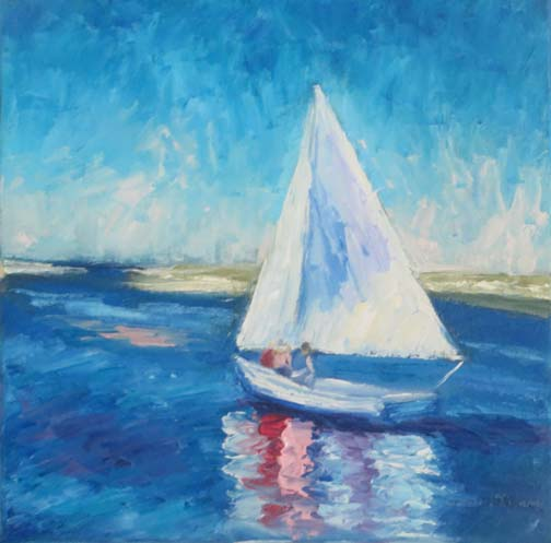 """Harbor Sailing"" by Ann McCann (c) 2017 10 X 10 oil on gallery wrap canvas"