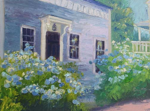 """Cape Cod House with Hydrangeas"" 9 X 12 Oil (c) Ann McCann 2017"