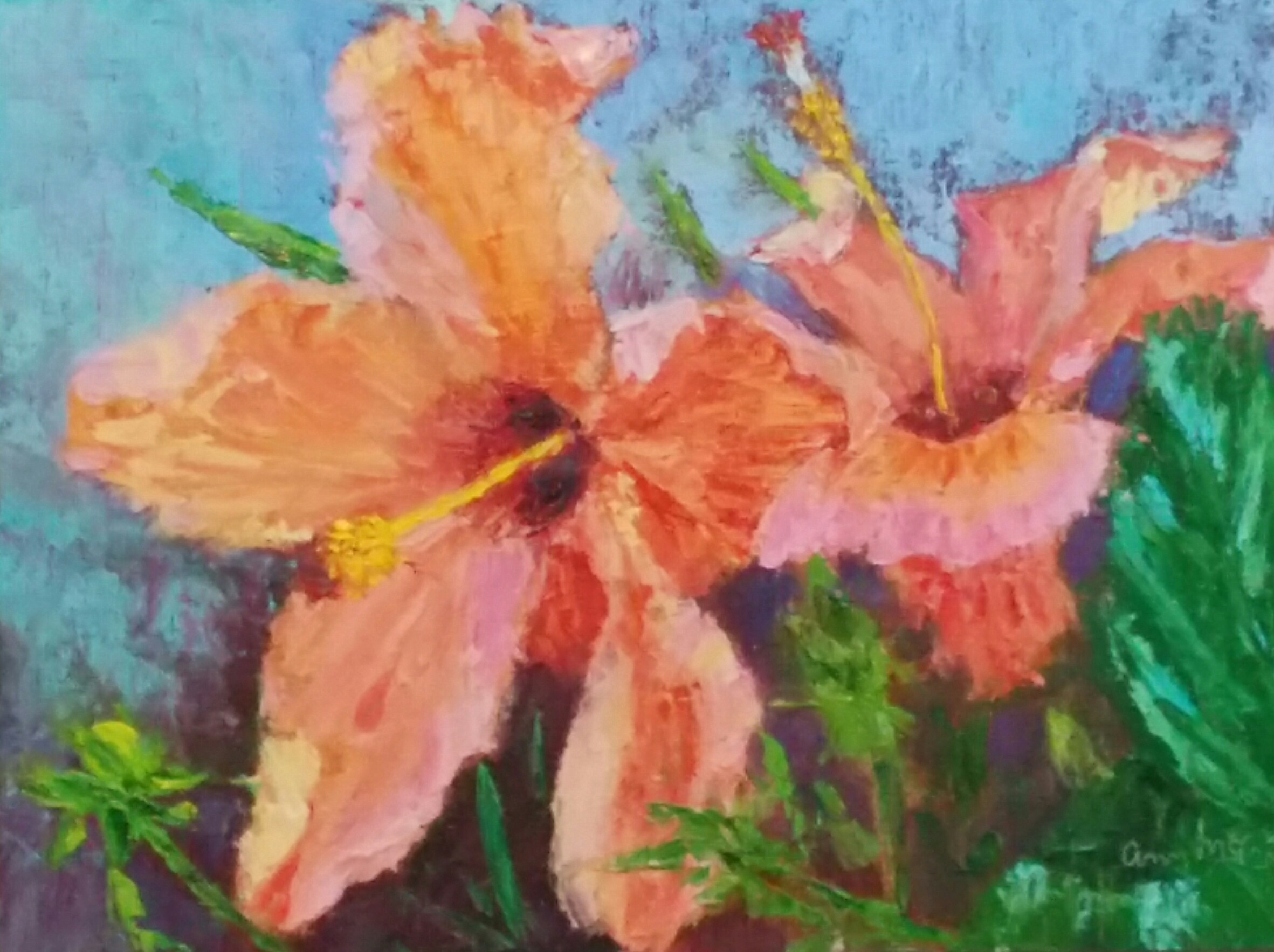"""Orange Hibiscus Duo"" 9 X 12 Oil (c) Ann McCann 2017"