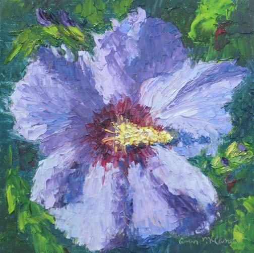 """Blue Rose of Sharon""8 X 8 Oil (c)Ann McCann 2017"