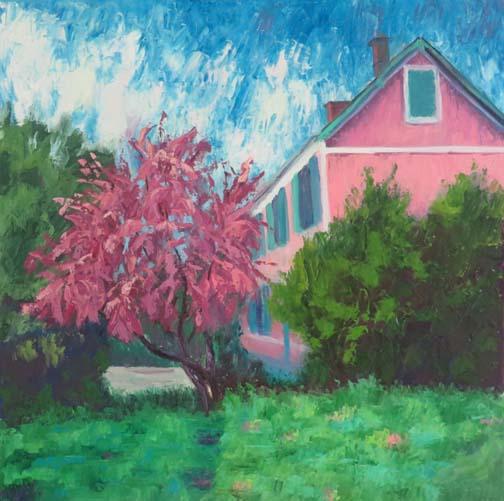 """In the Pink"" (Monet's Villa)20 X 20"" Oil (c)Ann McCann 2017"