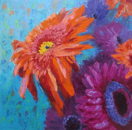 """""""Electric Gerbera Daisies"""" 20 X 20 Oil (c) Ann McCann"""
