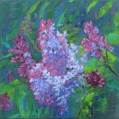 """Smell the Lilacs""12 X 12 Oil on Gallery Wrap Canvas (c)Ann McCann 2018"