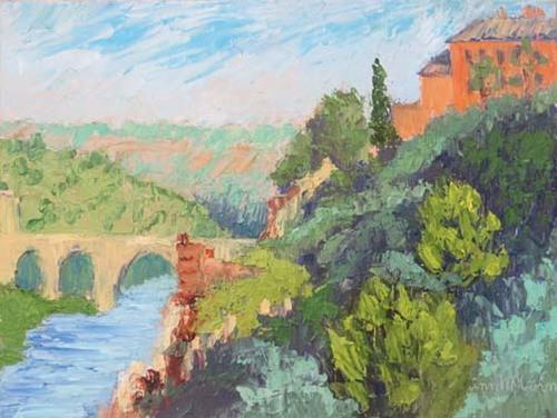 Roman Bridge in Spain (Granada)9 X 12 Oil (c)Ann McCann 2018