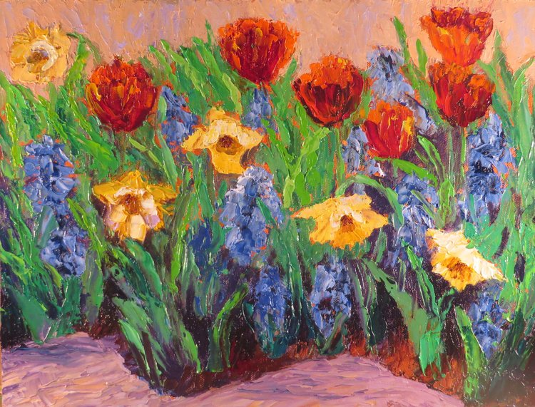 Spring II- Red tulips, daffodils and pansies.jpg