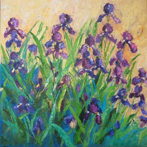 """Amethyst Iris"" 20 X 20 Oil (c)Ann McCann 2018"