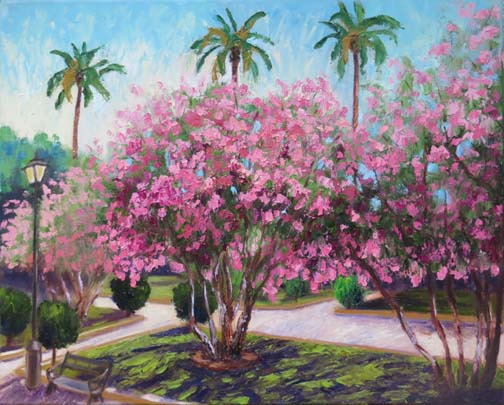 """My painting """"Seville Oleanders & Palms"""" was selected for the Fall Show of the Dutch Art Gallery in Dallas. The theme is """"around the world"""" which is great for me as many of my paintings are from European trips. This scene is a city park in Seville where the flowering oleanders are as big as trees. The opening is Saturday, November 3, 2018."""