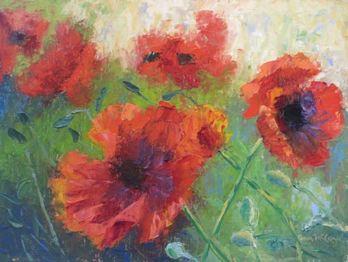 "(c)Ann McCann ""Purple Touch Poppies"" 9 X 12 Oil 2019"