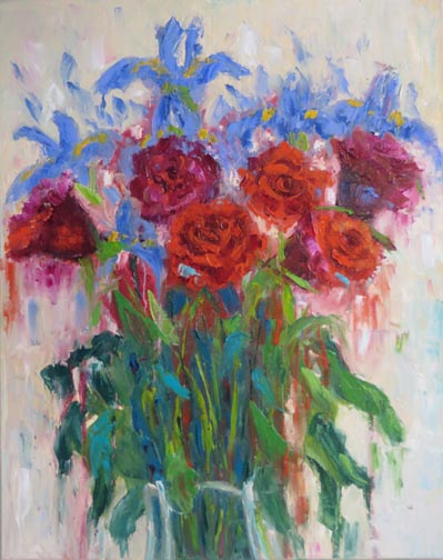 """I am working on ideas for paintings that are """"outside the box"""" for an art exhibit.  Here I used the image of my opening flowers (Monday's blog) but mixed it up with drips and other strokes.  Here is the result."""
