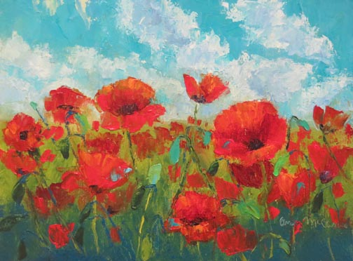 """Poppy Heaven"" 9 X 12 Oil (c)Ann McCann 2019"