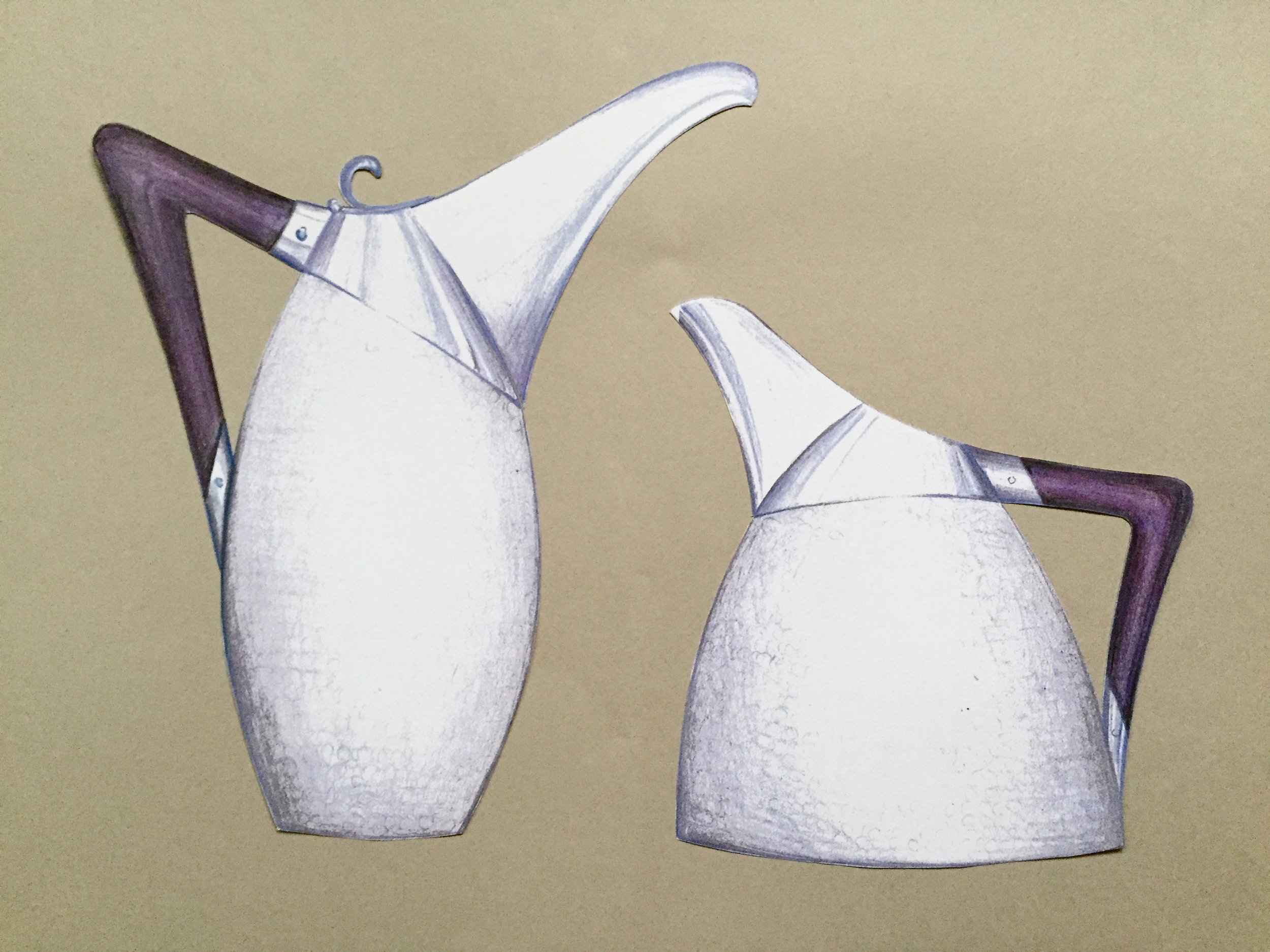 This design was for 'two contrasting water and wine jugs'The upper part of the body would be polished and the main section ring hammered and the handles made from Purple-heart wood. (I've named them 'Carson and Mrs Patmore').