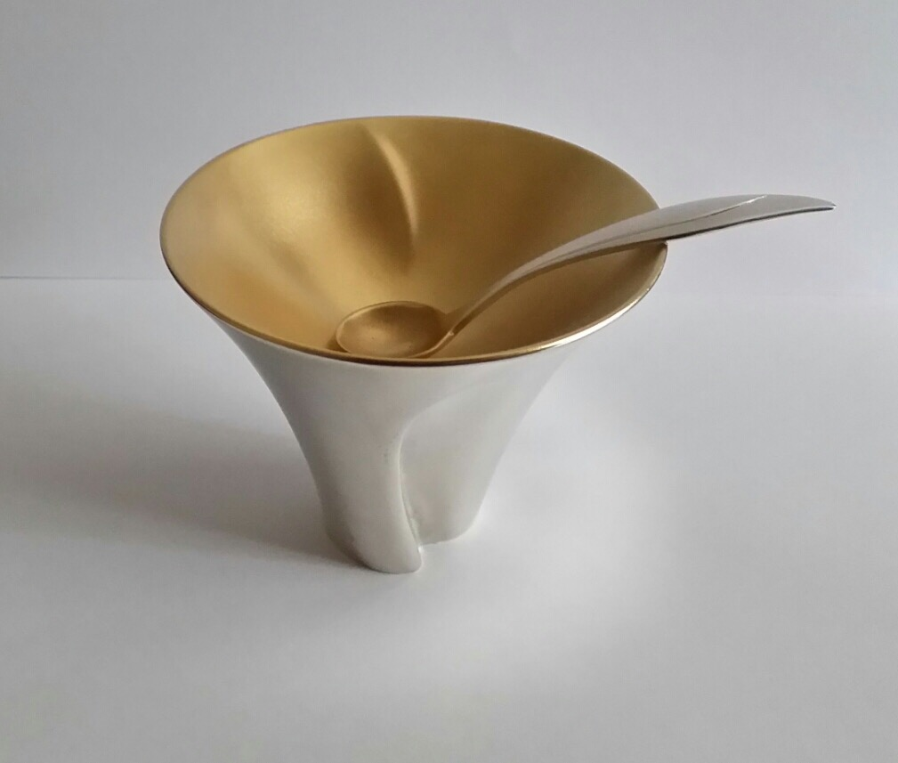 Silver/silvergilt hand raised and chased open and spoon; commissioned by The Goldsmiths' Company 'Made for The Table' exhibition