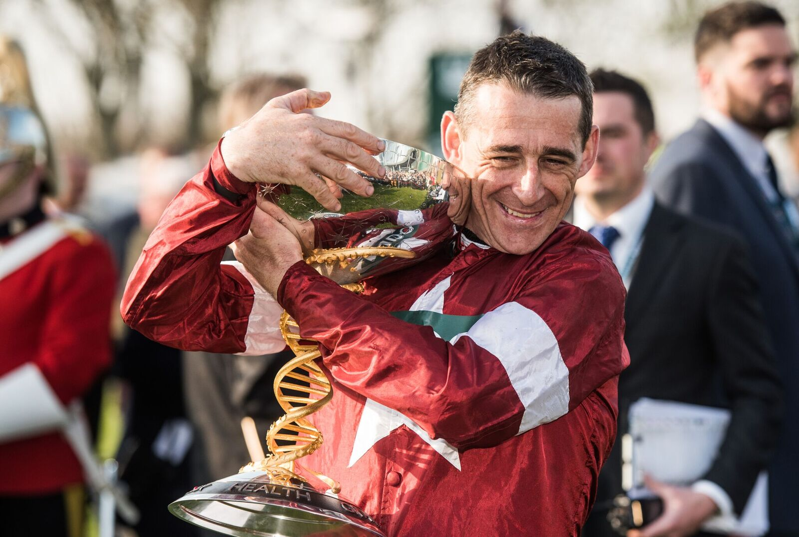 Davy Russell hugging the trophy after winning the Randox Health Grand National 2018, image by bradleyquinn.com - for more details see May 2018 Blog