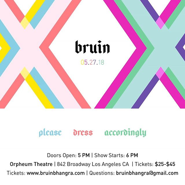 Come celebrate two decades of Bruin Bhangra tomorrow, Sunday 5/27, at the Orpheum Theatre! Buy your tickets quick at bruinbhangra.com or venmo through @bruinbhangra