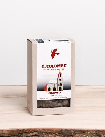 COLOMBIA - SAN ROQUE - COUNTRY: ColombiaDEPARTMENT: HuilaMUNICIPALITY: OparapaPRODUCERS: Asociacion San RoquePROCESS: Fully washed and sun-driedVARIETY: CaturraALTITUDE: 1500-1700 metersCUPPING NOTES: Clementines, Cherry Cola, ChocolateWhy you'll love it: Colombian coffee has long been loved throughout the world for it's drinkability. This smooth, balanced coffee is our interpretation of the classic, popular Colombian style, with exceptional sweetness and subtle flavors of citrus, grape, and cherry.Story of the bean: Producers in the San Roque Association process and dry their own coffees and deliver them to quality analyst, Duver Rojas, who tastes the coffees every day and pays incentives for the best beans The farmers' hard work on the steep hillsides unfolding below the San Roque Monastery and above the Magdalena River created this coffee of refined sweetness.$18.00