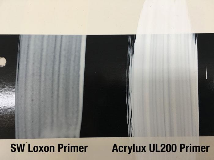 SW Loxon Primer vs Acrylux UL200 Primer