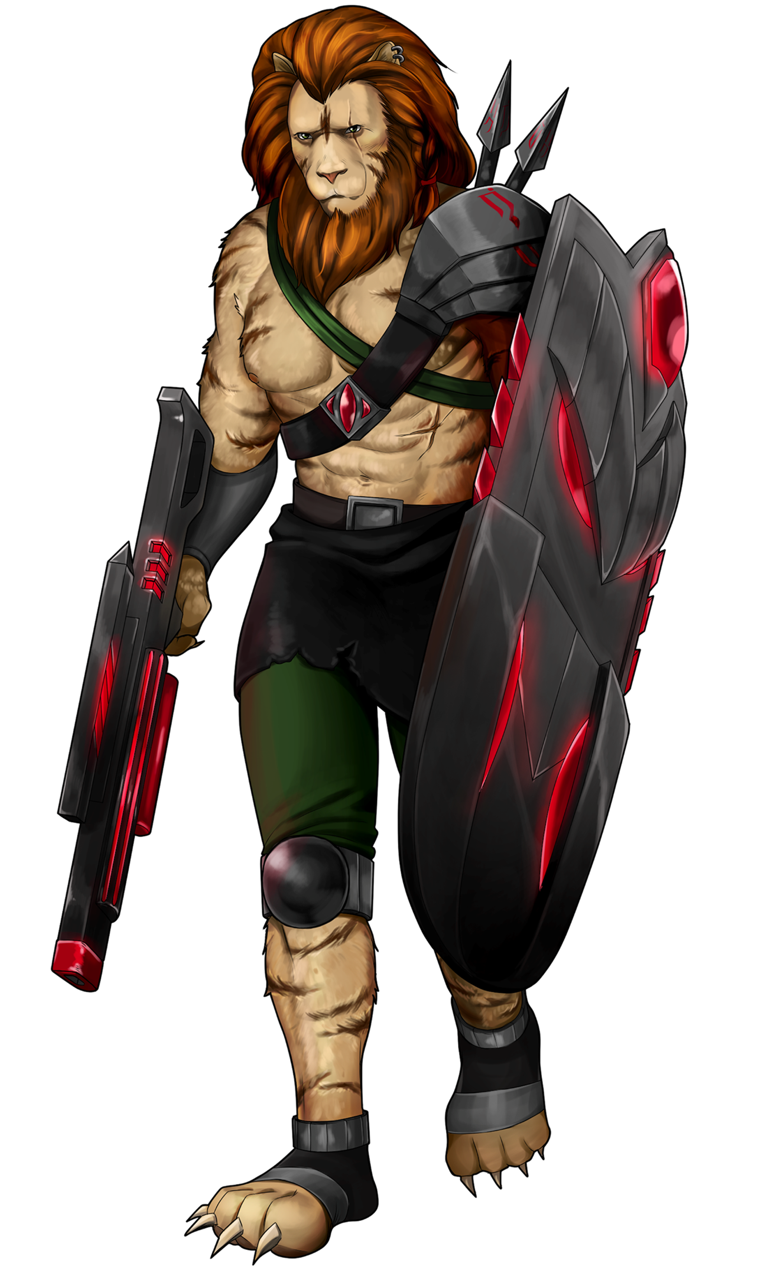 Brizgar - Leogin Defender   The noble and proud leader. Brizgar rushes into battle with determination to win.   Playstyle:  Team support tank, capable of hitting multiple enemies with shield toss and machine gun.