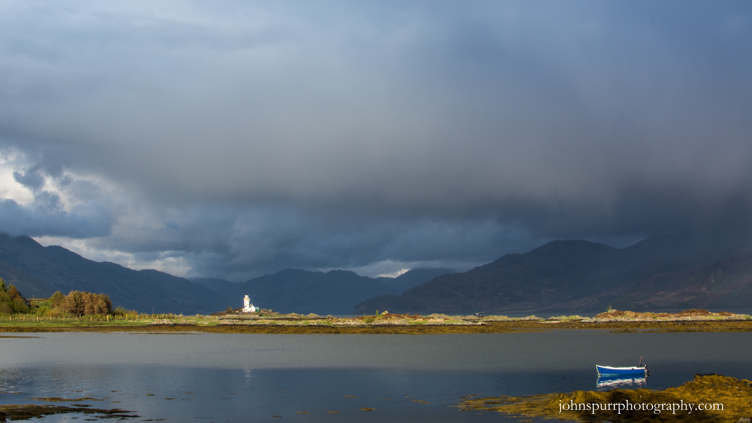Storm light over Isle Ornsay lighthouse, Isle of Skye