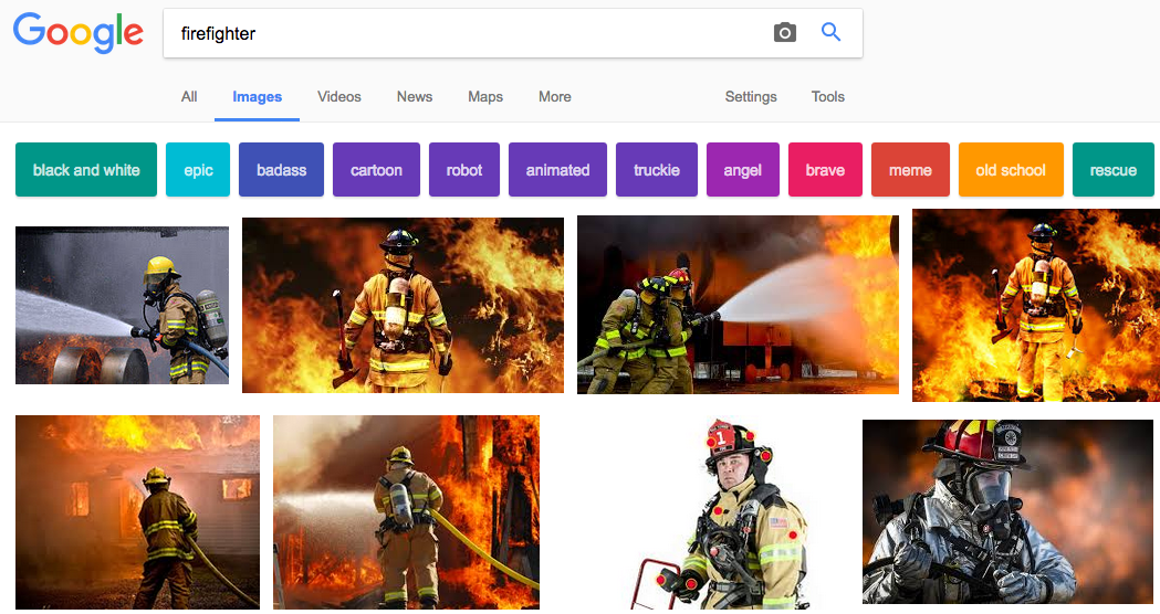 "Screenshot of a google search images for ""firefighter"" - A instance of the ""culture"" ?"