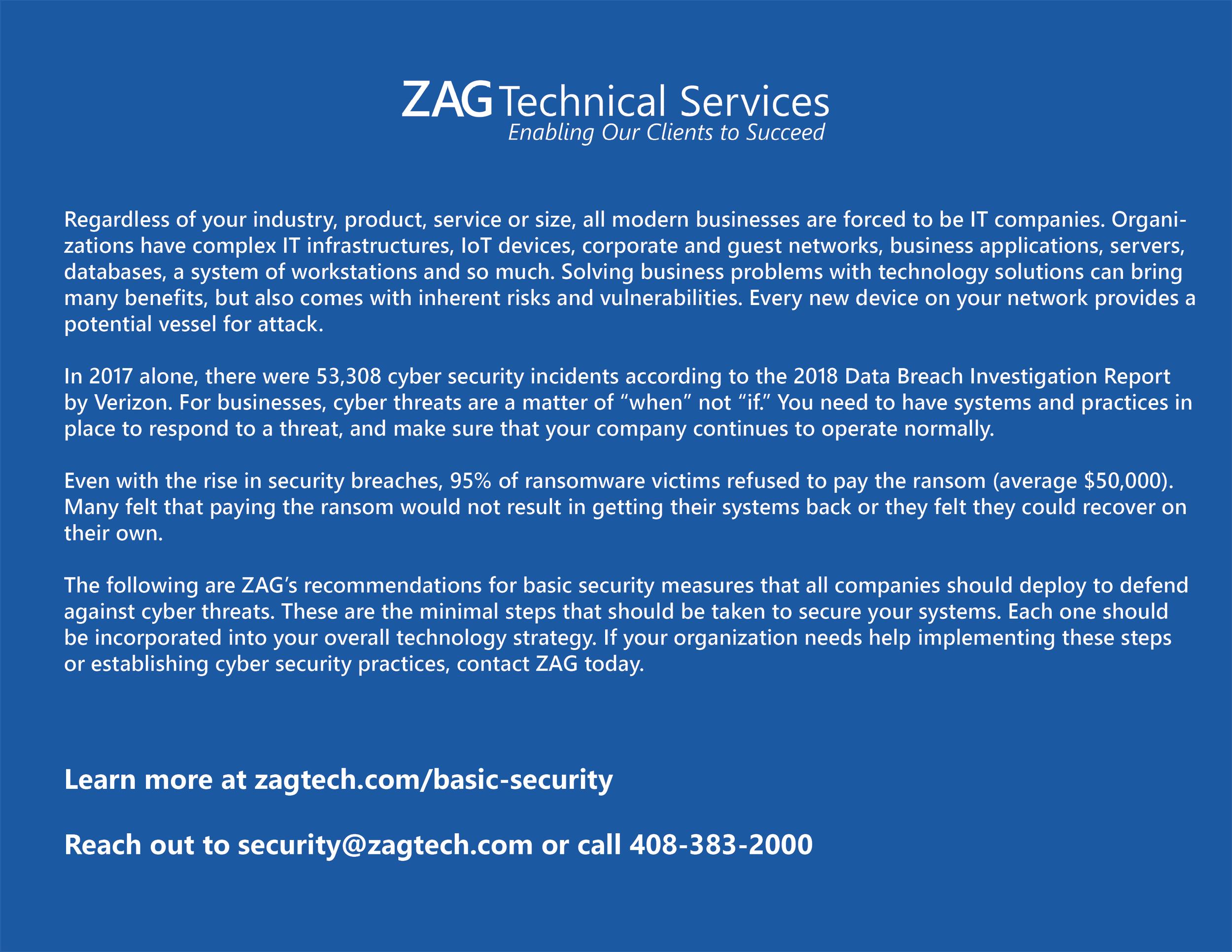 Contact ZAG if You Need Help