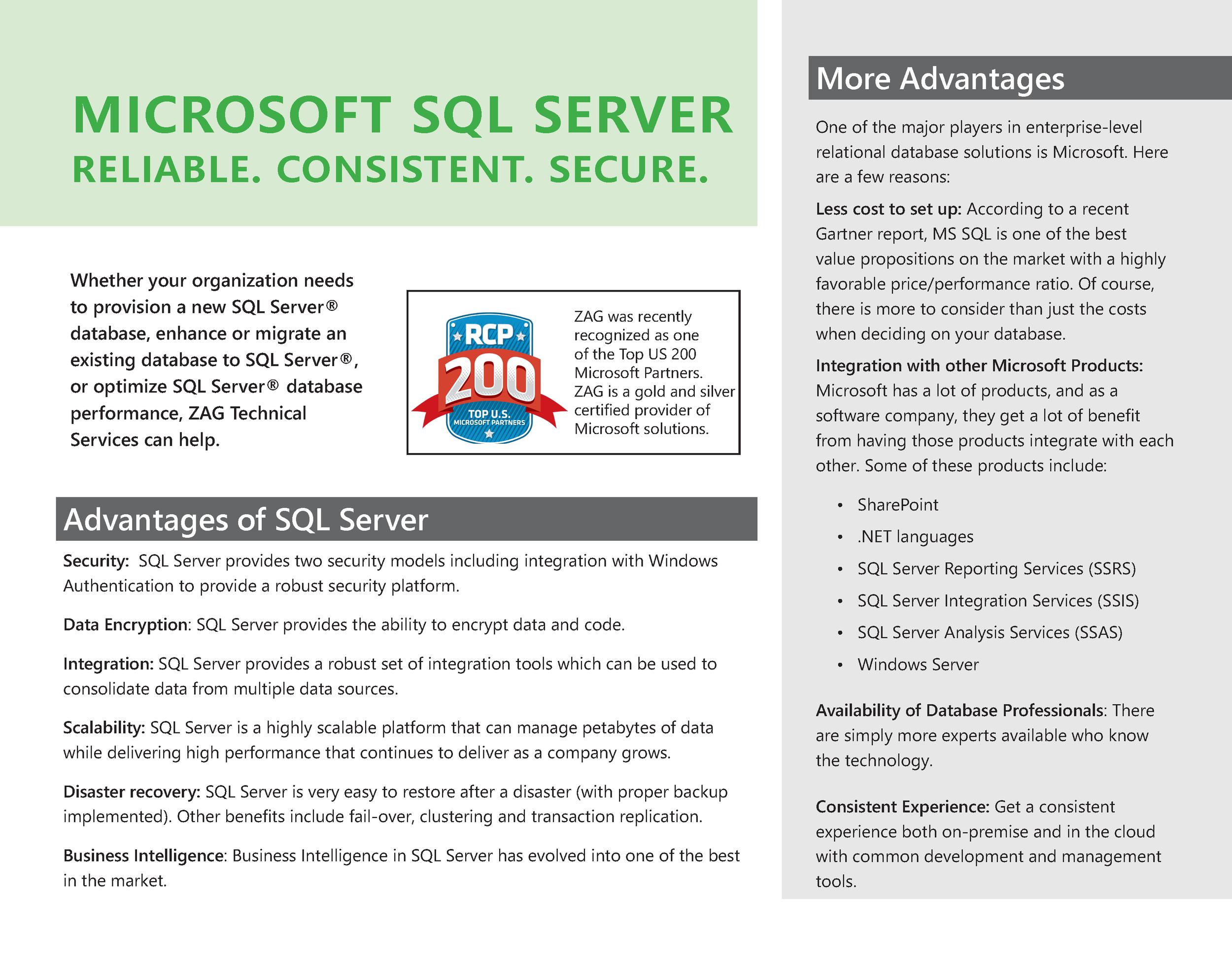 Microsoft SQL Server. Reliable. Secure.
