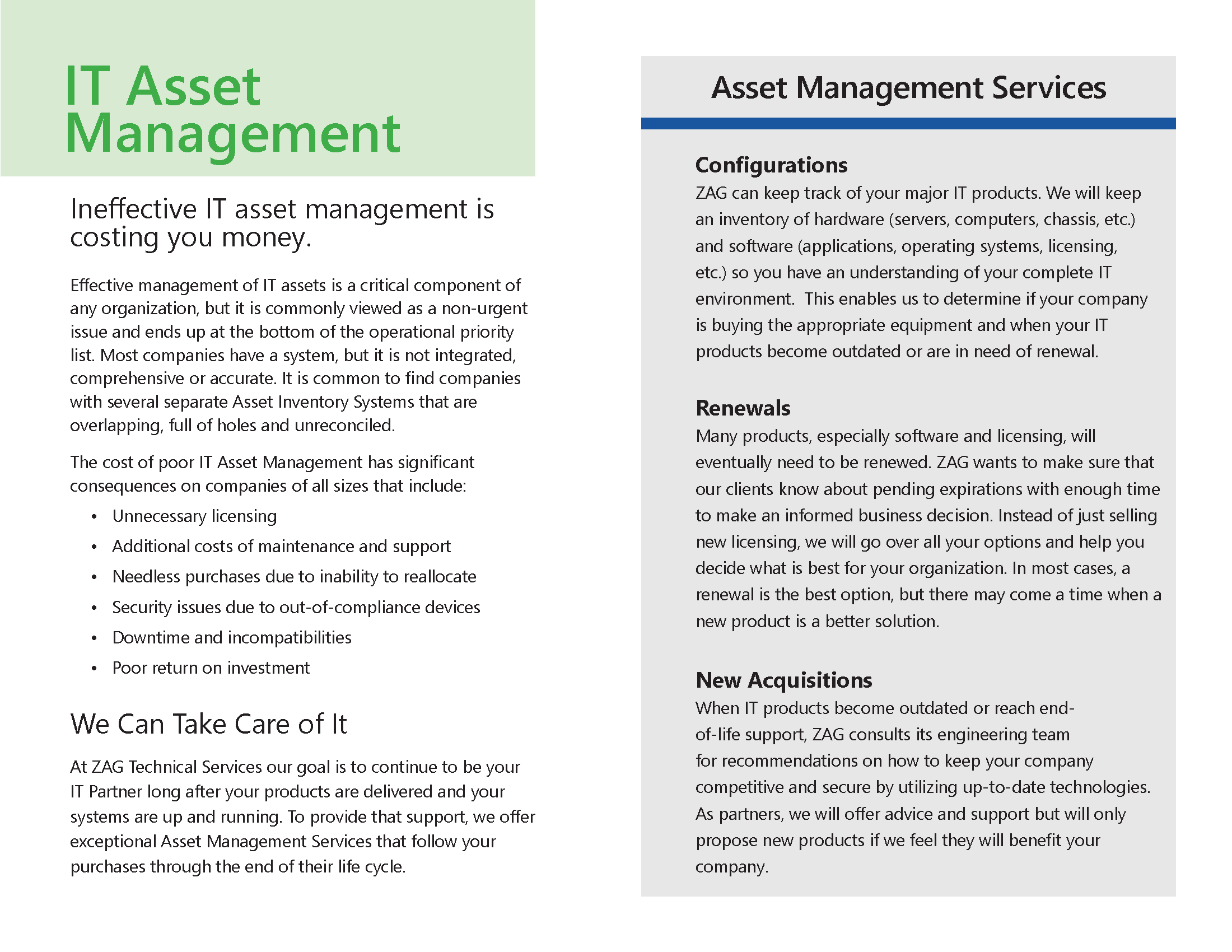ZAG Asset Management Services