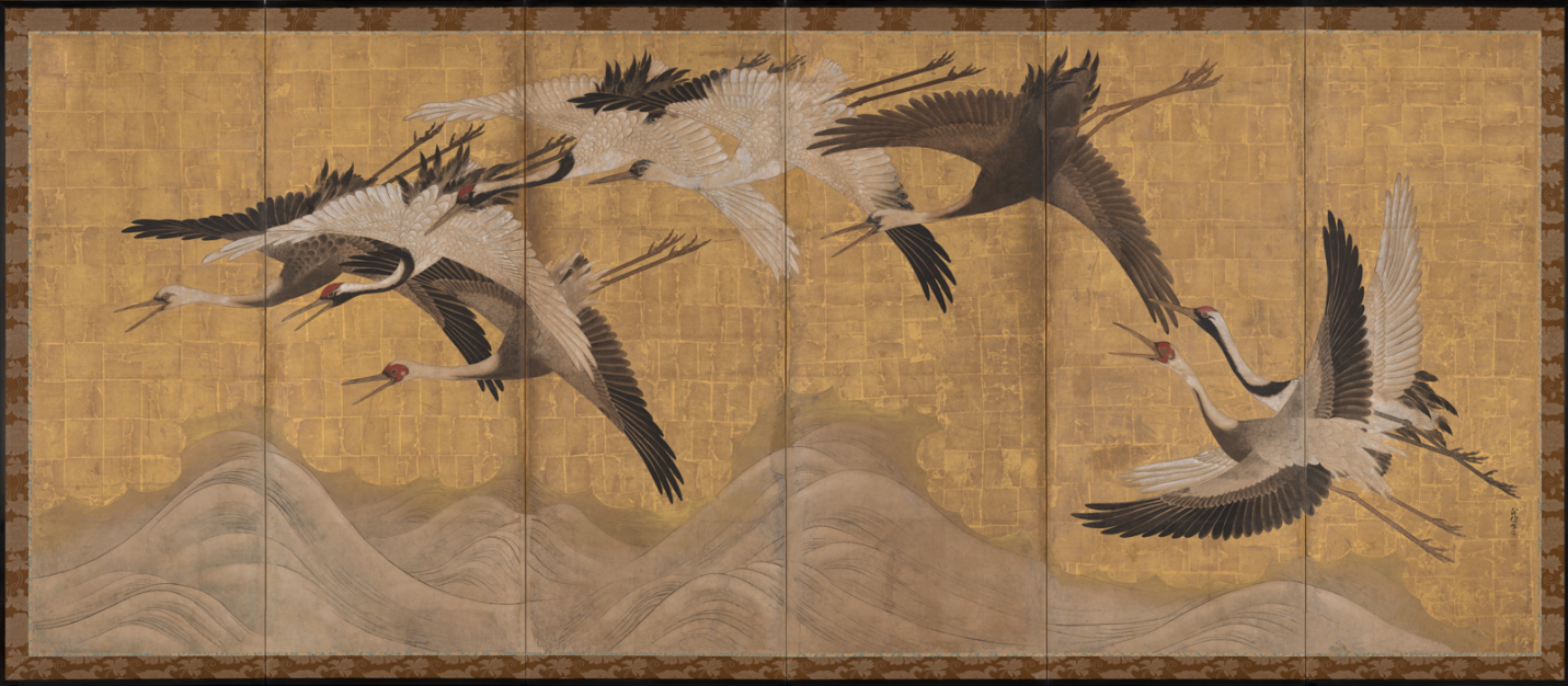 Cranes,  Kano Ujinobu, (1616 – 1669), One of a pair of six panel folding screens, Ink, colors, and gold on paper, The Avery Brundage Collection, Asian Art Museum of San Francisco