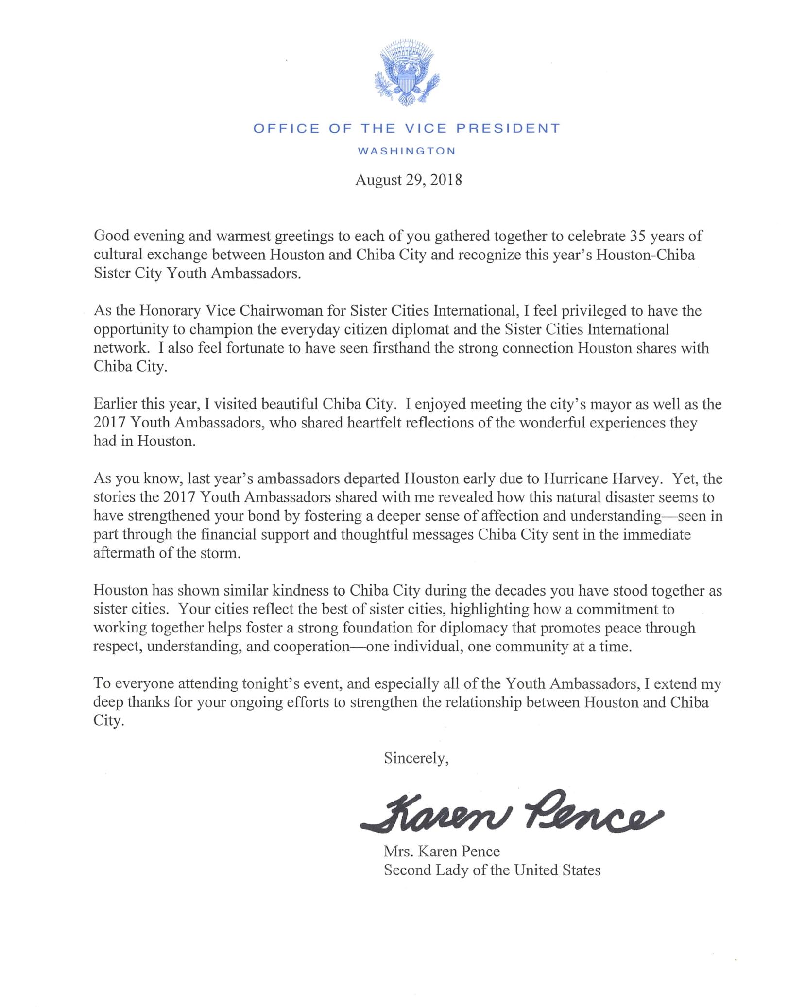 SLOTUS Greetings Letter to 2018 Houston-Chiba Sister City Youth Ambassad...-1.jpg