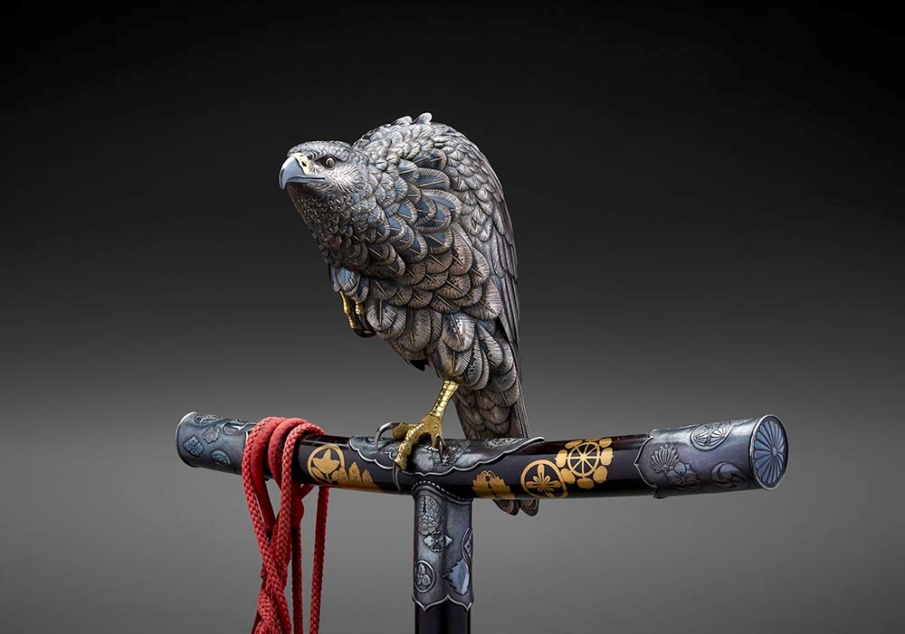 Aoki Tomonobu (Ichiryu),  Censer (Kora) in the Form of a Hawk  (detail), c. 1895, silver, shibuichi, shakudo, and gold, the Museum of Fine Arts, Houston, Museum purchase funded by Nidhika and Pershant Mehta; Dr. Ellen R. Gritz and Mr. Milton D. Rosenau, Jr.; Dr. David Y. Graham; Drew and Laura Tingleaf; Manmeet and Paul Likhari; and Friends of Asian Art.