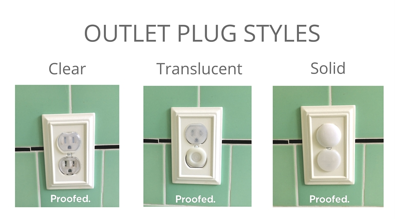 Child proof outlet covers with different styles of clear, translucent and solid.