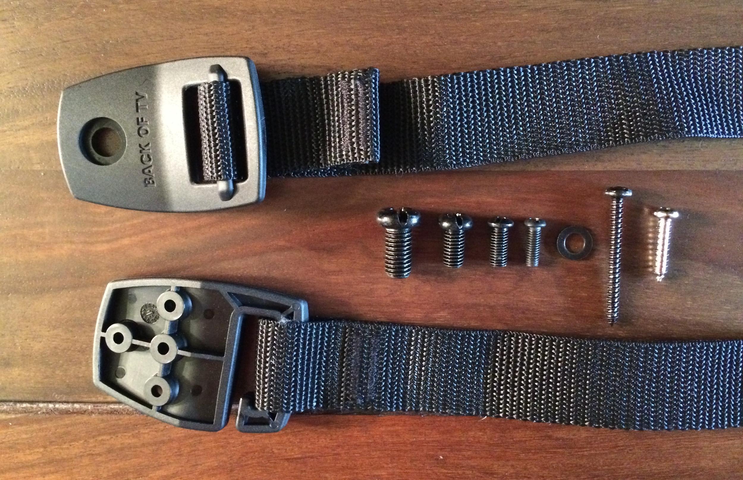 TV Anti-tip strap and mounting hardware