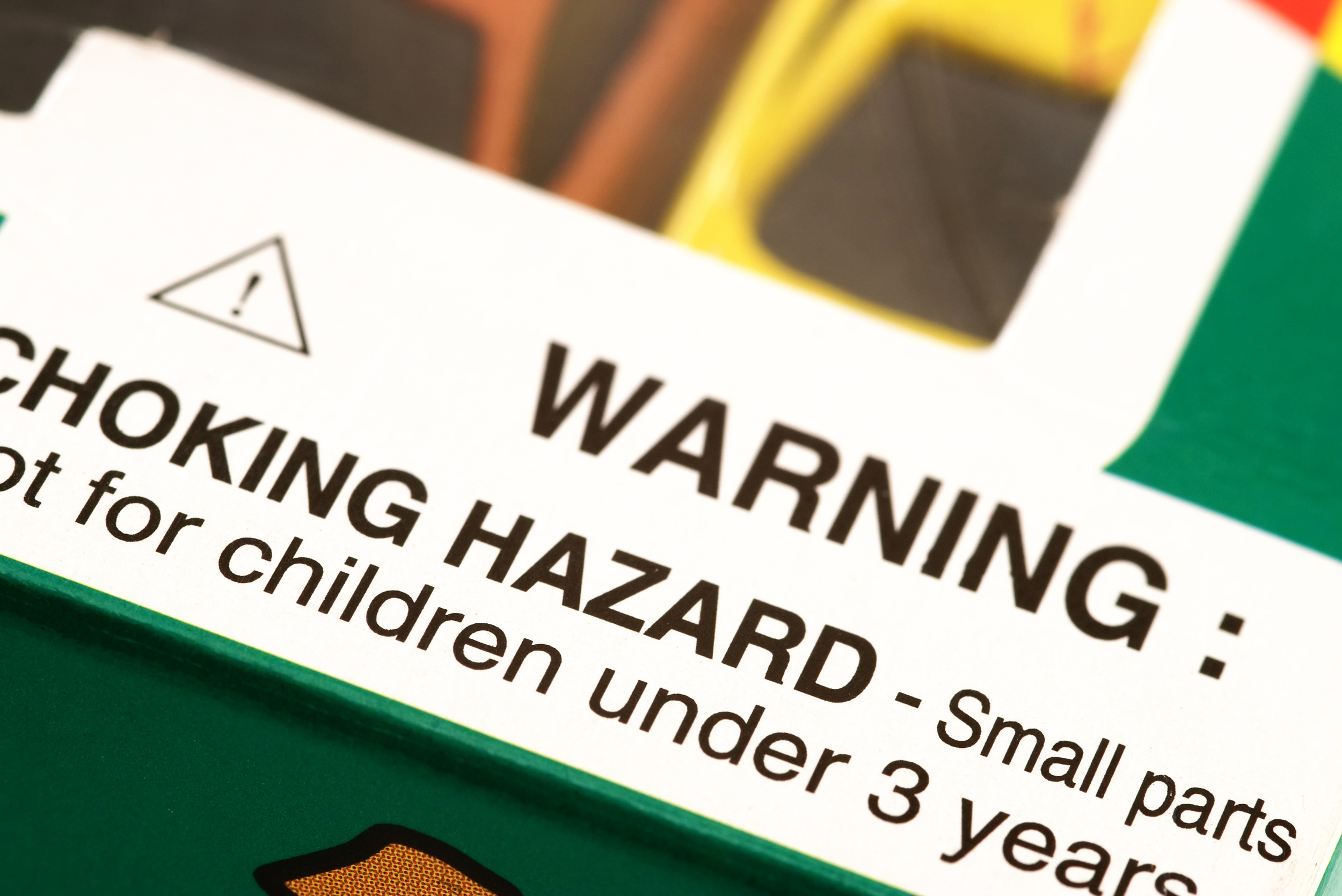 Small parts warning labeling for product packaging.