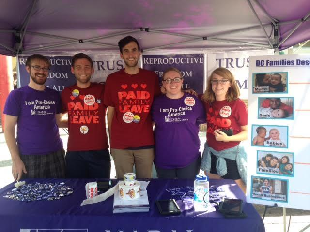 Special thanks to Evan Gilbert, David Wasserstein, Jamie Diamond, Randy Goldstein, and Michelle Kuchinsky for rocking our sweet new t-shirts and advocating for fair leave policies at the H Street Festival!