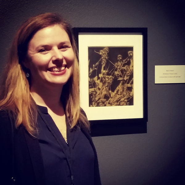 """Windblown Wildflowers"", 24k gilded print, 2018, and me"