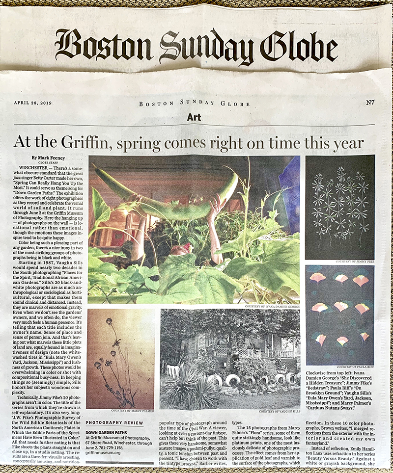 "Review by Mark Feeney in the Boston Globe of ""Down Garden Paths"". Images by Ivana George, Jimmy Fike, Paula Riff, Vaughn Sills, & Marcy Palmer"